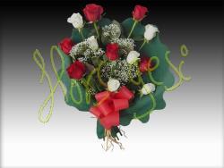 Ramo 12 rosas blancas/rojas