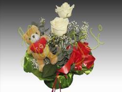 Centro 2 rosas + peluche
