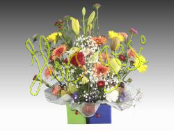 Centro de flores y fruta